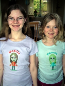 Maddie and Hannah Modelling Birthday Mii Shirts
